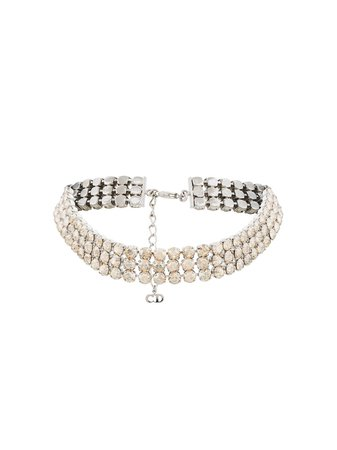Silver Christian Dior X Susan Caplan 1996 Archive Embellished Choker Necklace | Farfetch.com