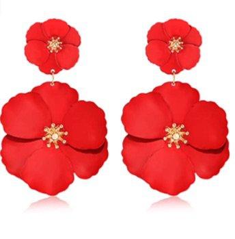 red flower earrings Amazon