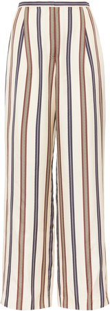 Stripe High Waist Wide Leg Silk Pants