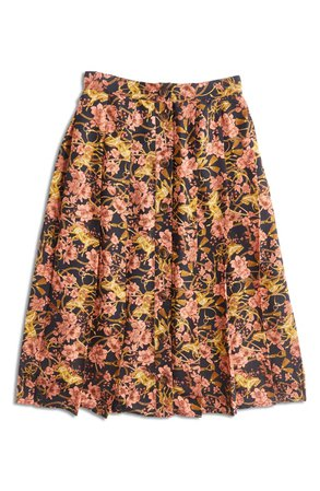ModCloth Floral Pleated Button-Through Skirt (Regular & Plus Size) | Nordstrom