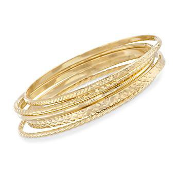 Ross-Simons - 18kt Gold Over Sterling Jewelry Set: Five Textured Bangle Bracelets - #780309