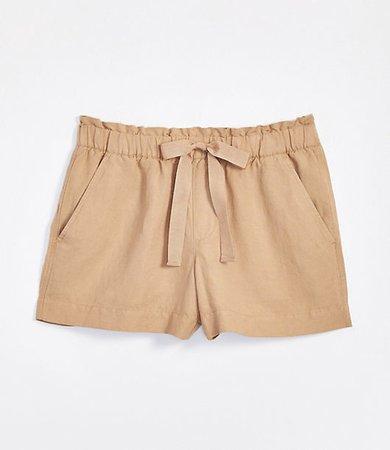 Linen Blend Drawstring Shorts