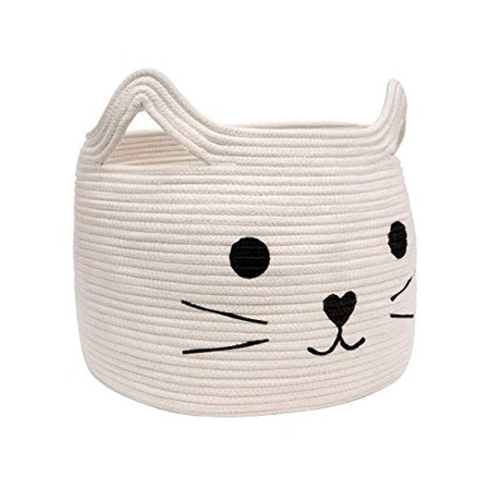 """Amazon.com : HiChen Large Woven Cotton Rope Storage Basket, Laundry Basket Organizer for Towels, Blanket, Toys, Clothes, Gifts 
