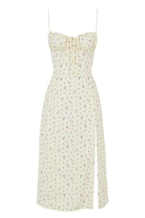 Clothing : Midi Dresses : 'Carina' Lemon Floral Bustier Midi Dress