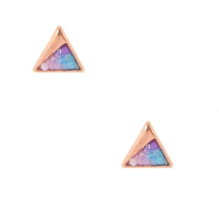 18kt Rose Gold Glitter Triange Stud Earrings | Claire's US