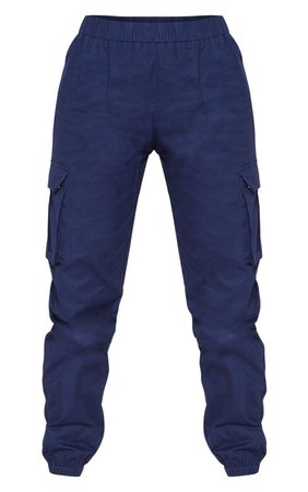 Navy Pocket Detail Cargo Pants   PrettyLittleThing