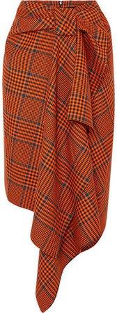Knotted Asymmetric Checked Wool-blend Midi Skirt - Orange