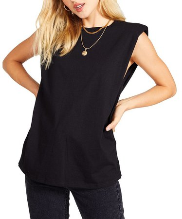 Shoulder Pad Tank Black