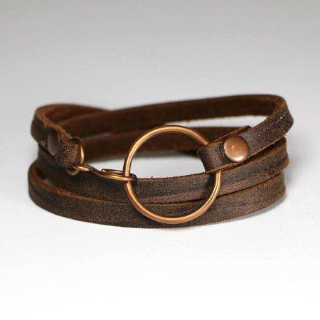 Leather Wrap Bracelet Triple Wrap Soft Dark Brown Leather | Etsy