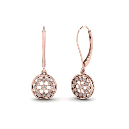 Antique Floral Drop Dangle Earring In 14K Rose Gold | Fascinating Diamonds