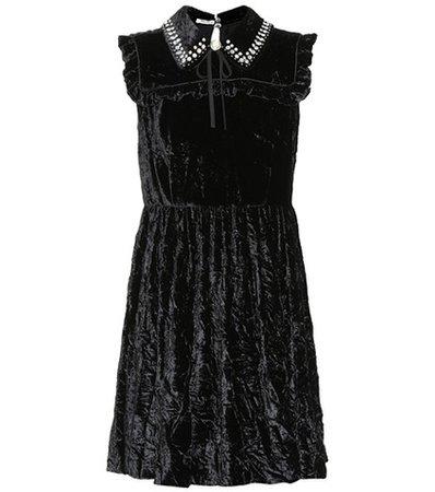 Embellished velvet minidress