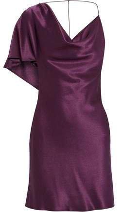 Open-back Draped Silk-satin Mini Dress