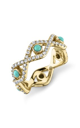 Sydney Evan Turquoise And Pave Evil Eye Eternity Ring