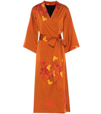 Bishop floral satin wrap dress