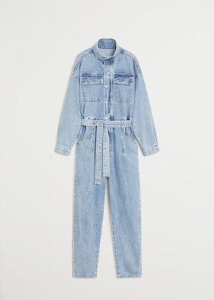 Belt denim jumpsuit - Women   Mango USA blue