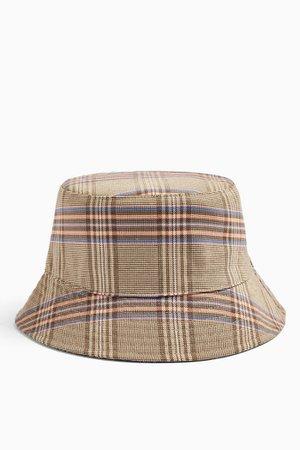 Brown Check Bucket Hat | Topshop