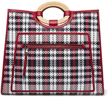 Runaway Large Raffia-trimmed Woven Leather Tote - Red