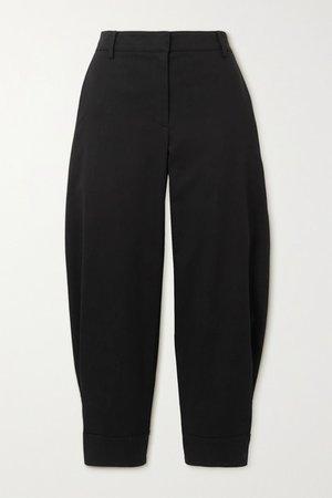 Organic Cotton-blend Twill Tapered Pants - Black