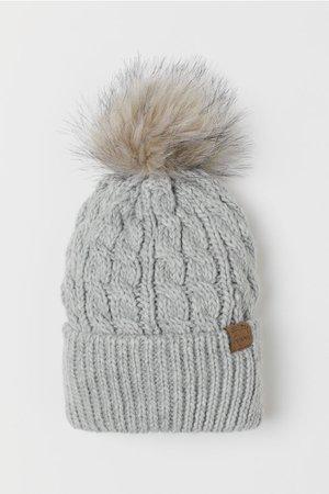 Knit Hat with Pompom - Light gray - Kids | H&M US