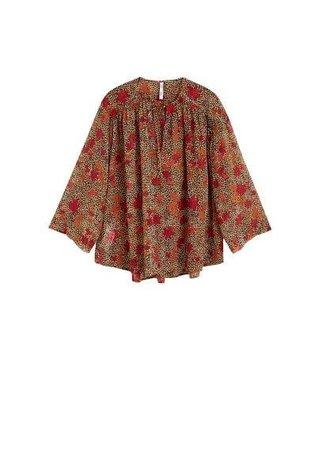 MANGO - Female - Printed chiffon blouse brown mango - Brown