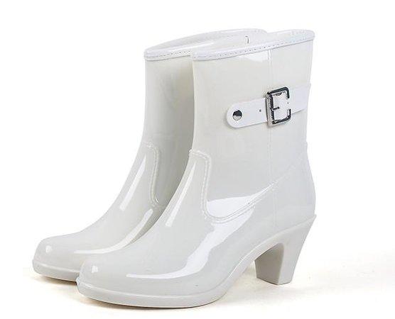 Eilyken Rain Boots Women Waterproof Shoes Ankle Rubber Boots High Heel Rain boots