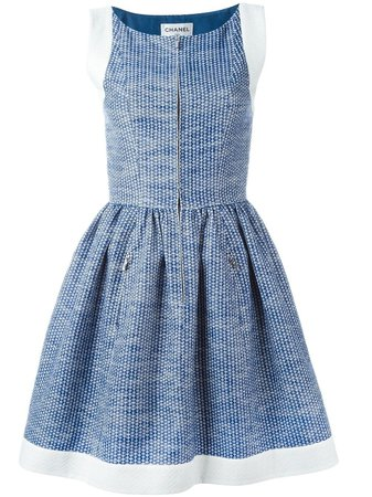 Blue Chanel Pre-Owned Pleated A-Line Dress | Farfetch.com