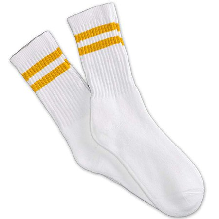 12 Pairs white unisex crew socks with two mustard yellow stripes classic retro old school at Amazon Men's Clothing store