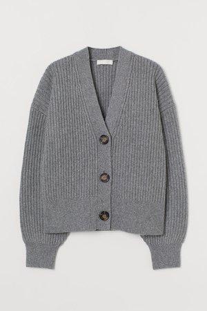 Rib-knit Cardigan - Gray