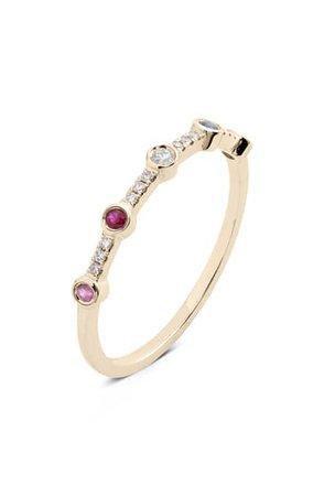 EF Collection 5-Bezel Rainbow Diamond Stack Ring | Nordstrom