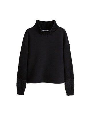 MANGO Contrasting knit sweatshirt