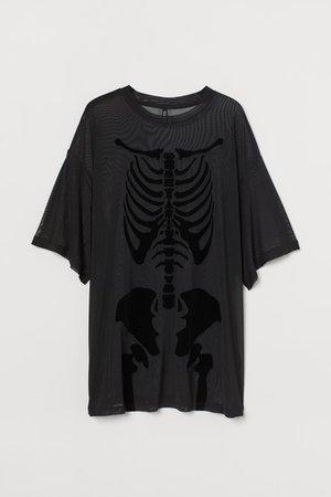 Oversized Mesh T-shirt - Black skeleton - Ladies   H&M US