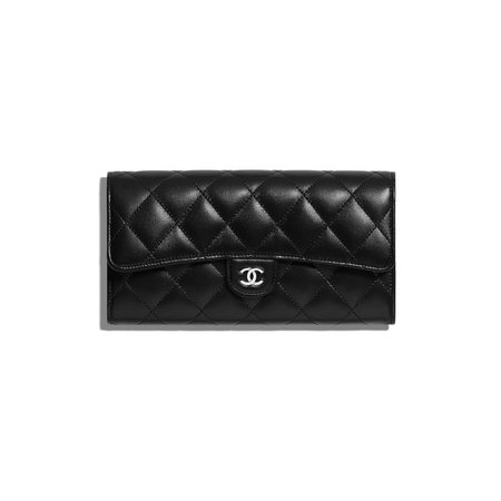 chanel quilted black wallet