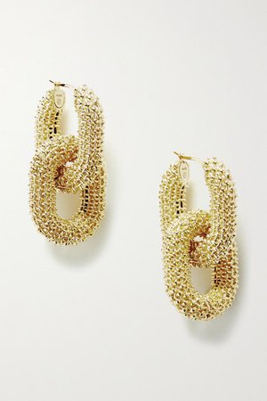 Bottega Veneta | Textured gold-tone earrings | NET-A-PORTER.COM