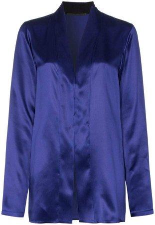shawl collar silk-satin blouse