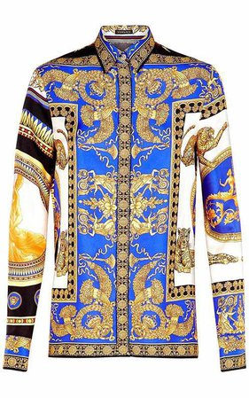 versace Signature Pillow Talk-print silk-twill shirt
