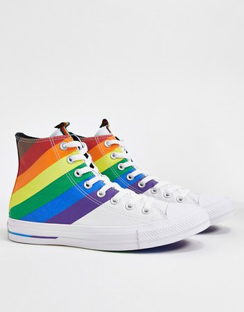 Converse chuck taylor all star hi white and rainbow sneakers | ASOS