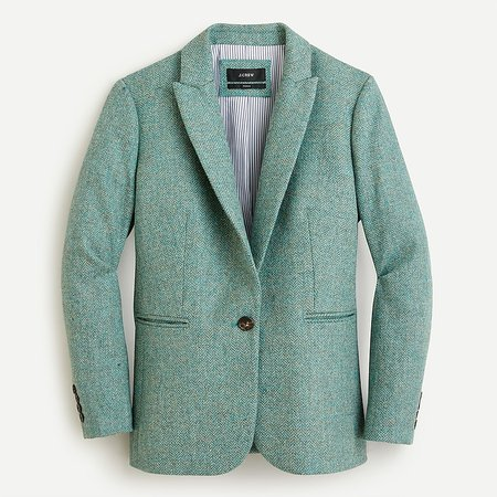J.Crew: Parke Blazer In Teal Grey Herringbone English Wool For Women