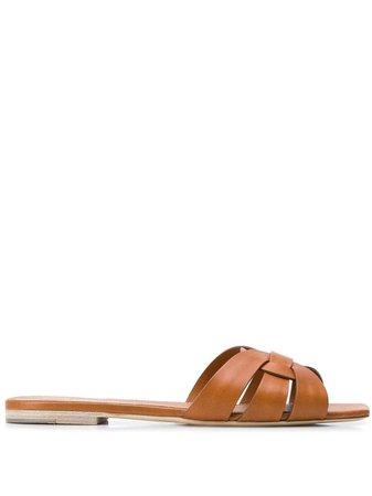 Saint Laurent Tribute Flat Sandals - Farfetch