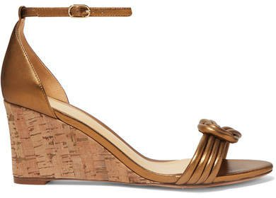 Vicky Knotted Leather Wedge Sandals - Bronze