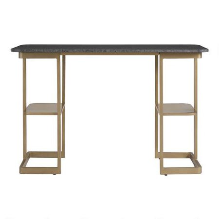 Black Granite and Gold Metal Celine Desk | World Market