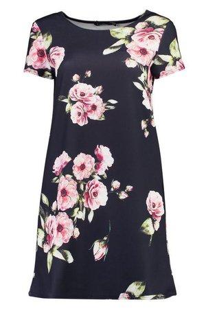 Floral Cap Sleeve Shift Dress