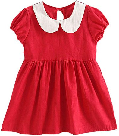 Amazon.com: MiyaSudy Baby Girl Dress Kids Short Sleeve Solid Pater Pan Collar Casual Cotton Dresses Clothing for 1-6Years Red: Clothing