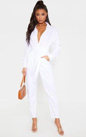 White Tie Waist Shirt Jumpsuit | PrettyLittleThing
