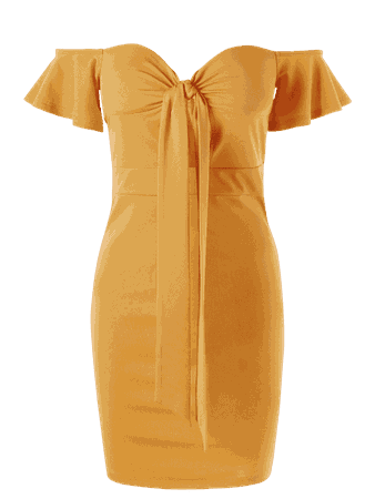 Corset Off The Shoulder Bodycon Dress YELLOW: Casual Dresses XL | ZAFUL