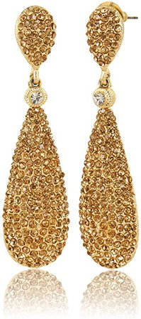 Amazon.com: Moonstruck Costume Jewelry Chandelier Champagne Diamond Studded Golden Gold Drop and Dangle Earrings for Women: Clothing
