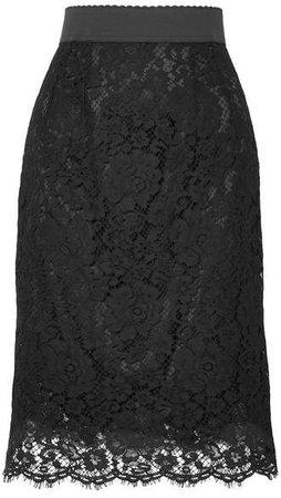 Guipure Lace Skirt - Black