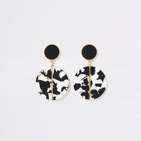 Black mono resin drop earrings - Earrings - Jewelry - women