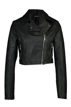 Cropped Faux Leather Biker Jacket | Boohoo black