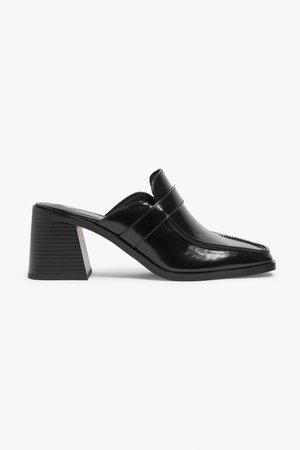 Loafer mule heels - Black - High heels - Monki WW