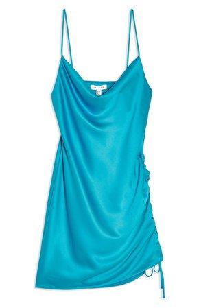 Topshop Ruched Satin Mini Slip Dress (Regular & Petite) | Nordstrom